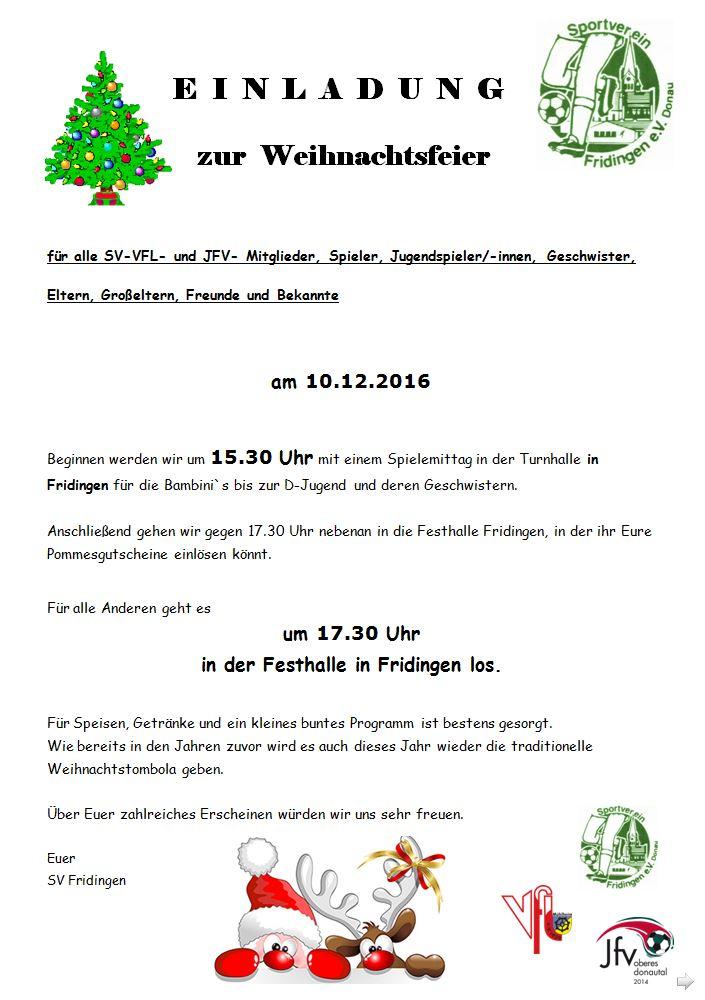 Einladung Zur Weihnachtsfeier.Einladung Zur Weihnachtsfeier Jfv Oberes Donautal
